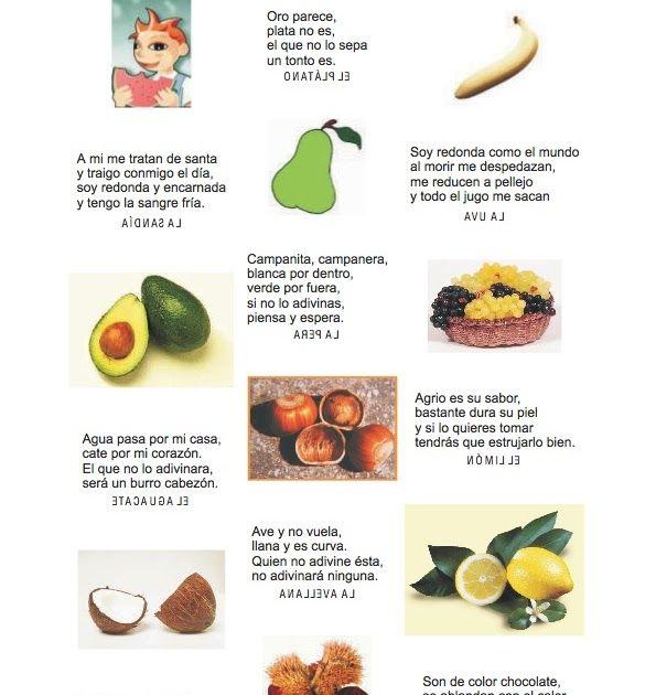 Aquí Os Dejo Unas Adivinanzas Sobre Frutas Frutos Y Alimentos Para Que Las Utiliceis En Vue Adivinanzas De Verduras Higiene De Los Alimentos Frutas Y Verduras