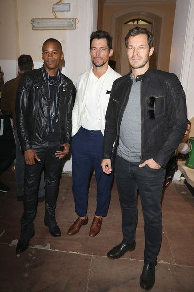 (L-R) Eric Underwood, David Gandy and Paul Sculfor attend the Belstaff Presentation during London Fashion Week Men's June 2017 collections on June 12, 2017 in London, England.