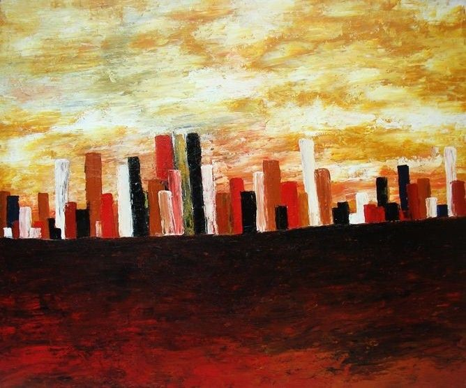 City Block, Acrylic on canvas, 122cm x 100cm, Artist : Aliyas