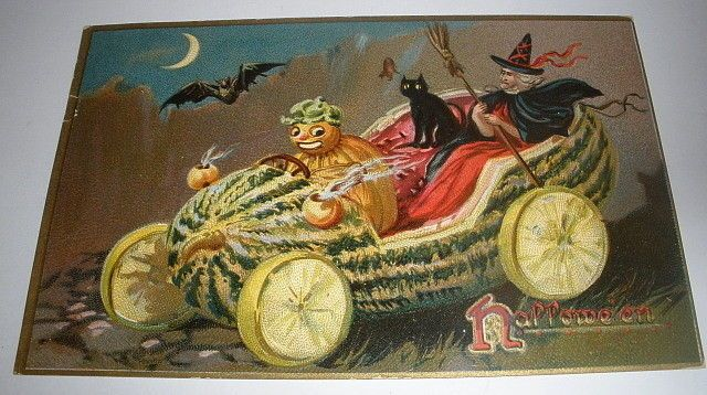 Antique Tuck's Embossed Halloween Postcard - JOL Witch Black Cat Watermelon Car #Halloween