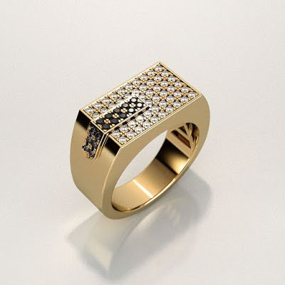 GOLD Art. 3D STORE: Men's ring with two colors gemstones