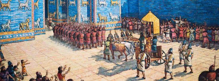 Ischtar-Tor: Babylonisches Bauwerk in tiefblau
