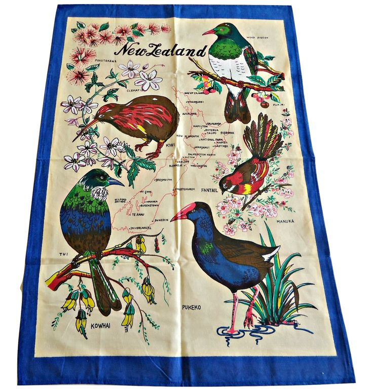 Tea Towel Souvenir Tea Towels Native Birds of New Zealand by TreasureCoveAlly on Etsy
