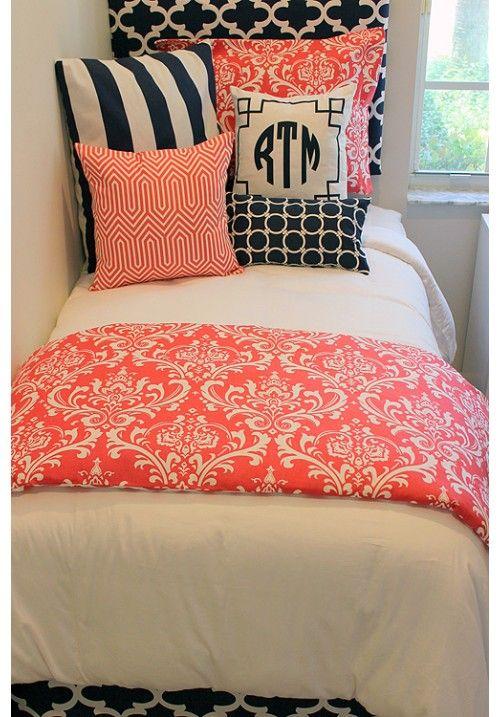 Coral  Navy Designer Teen  Dorm Bed in a Bag   Teen Girl Dorm Room Bedding