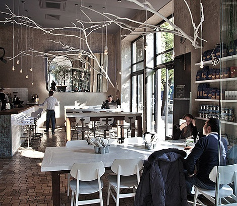 Gourmet Center - Budapest.  I love the giant branches with the lighting.