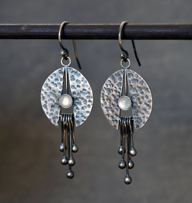 Sterling silver earrings with mother pearl. Silver drop earrings. Oxidised earrings. Silver jewellery. Handmade. MADE TO ORDER.