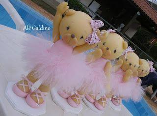 Alê Galdino: Ursa bailarina rosa em biscuit