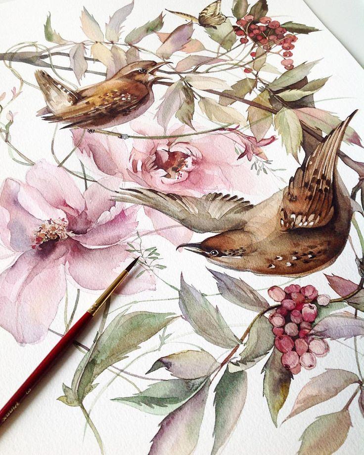 жизнеспособное акварель птицы цветы картинки это символ