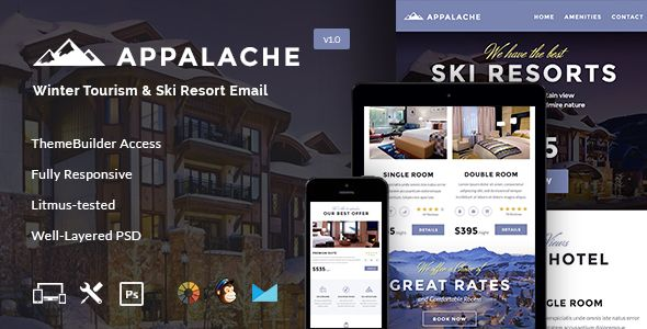 Appalache - Winter Tourism & Ski Resort Email + Builder Access . Appalache, one of the coolest clean and simple style built  Tourism & Ski Resort Email Template with extremely powerful features has been introduced for the Travel Agencies, Tourism, Hotels, Ski Resorts, Companies, Holiday Packages, Tour Packages, Vacation Advertising, Hotel Promotion, Luxury, Real
