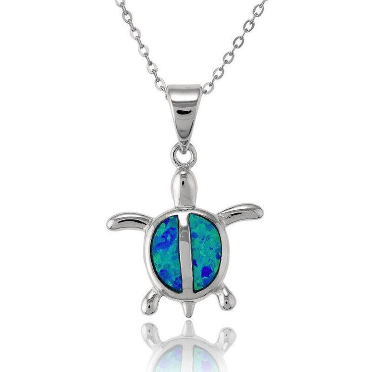Opal Blue Inlay Sterling Silver Small Turtle Pendant
