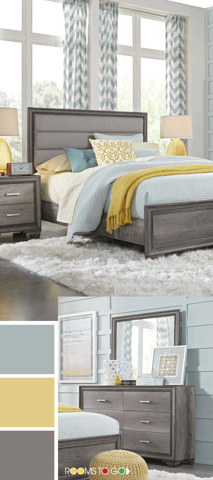 Clean lines, an on-trend weathered gray finish and upholstered elements create a chic bedroom retreat with the transitional Marlow collection.