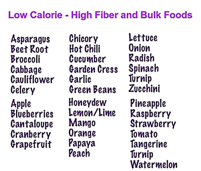 Low calorie density food list for weight control and dieting
