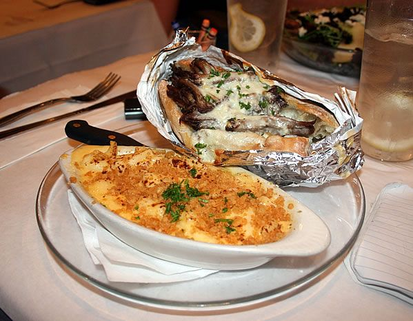 Cheesesteak with a side order of macaroni and cheese at Zest! Exciting Food Creations on East 54th Street in Indianapolis, Indiana.
