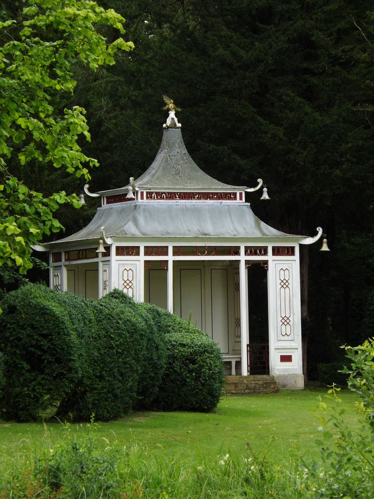 Chinese Temple of the Wrest Park, one of the grandest English gardens of the early eighteenth century, originally laid out probably by George London and Henry Wise for Henry Grey, 1st Duke of Kent, then modified by Capability Brown in a more informal landscape style, without sacrificing the parterres.