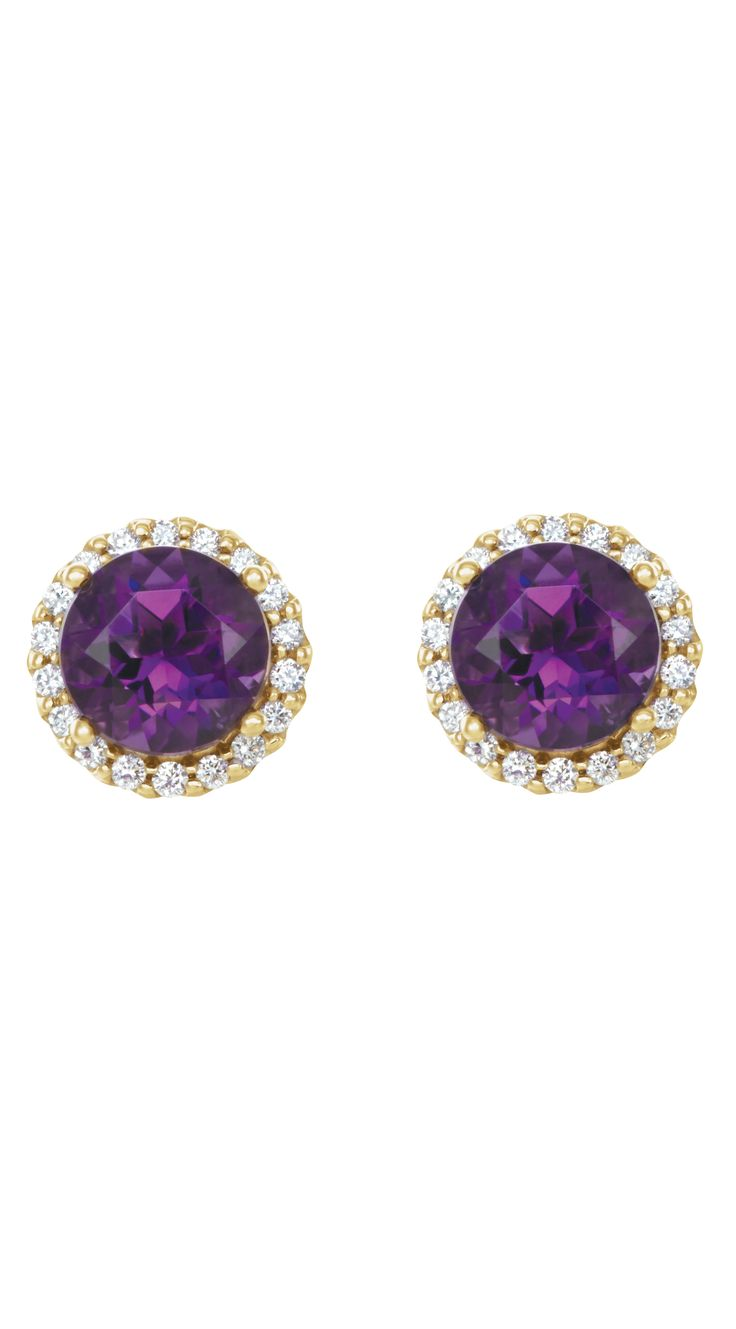 Amethyst & Diamond Halo Style Earrings | Click through for product details OR to locate a jeweler near you!
