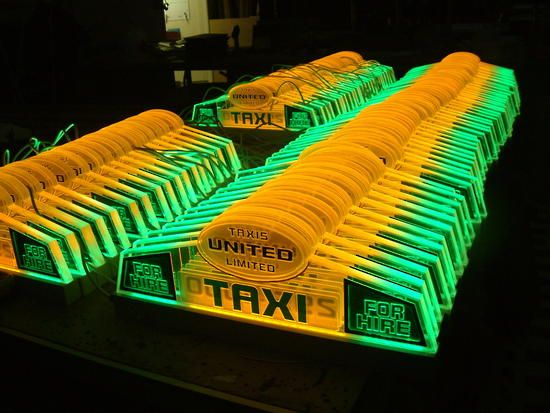 LED Lit, Laser Engraved Acrylic Taxi Toplights