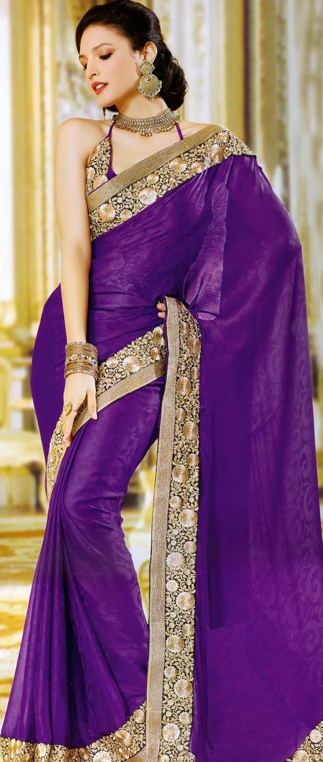 Purple Jacquard #Saree with Blouse @ $71.02