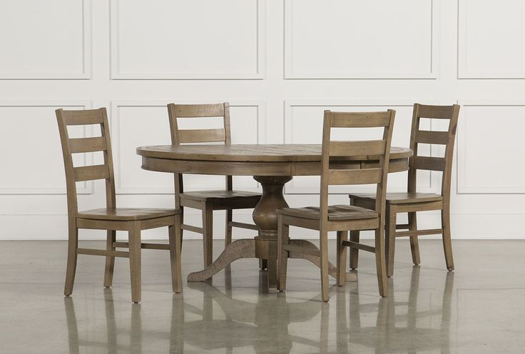 Beckett 5 Piece Round Dining Set W/Slat Back Side Chairs