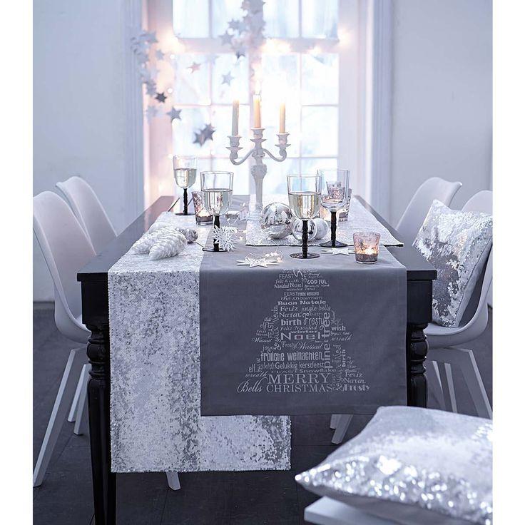 Tischläufer, Silberverzierung, Baumwolle   Weihnachtsdekoration   Weihnachten