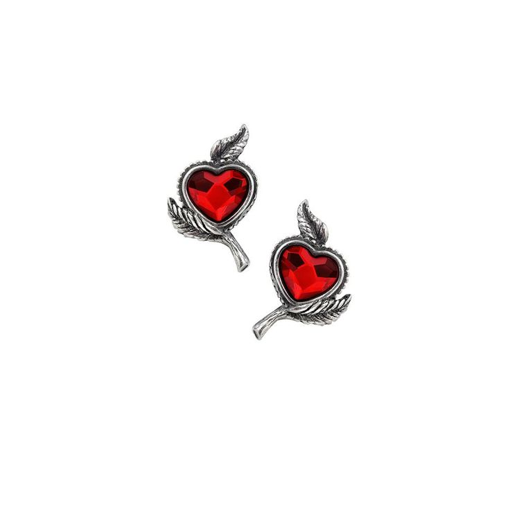 Alchemy Gothic Loves Blossom Heart Earrings  #rivethead #cybergoth #raver #batcave #industrialgirl #witchy #occult #alternativegirl #spooky #altfashion