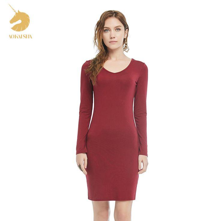 Fashion Ladies V-neck long-sleeve women's Party Bodycon Dresses autumn slim shirt top sexy slim hip 2181