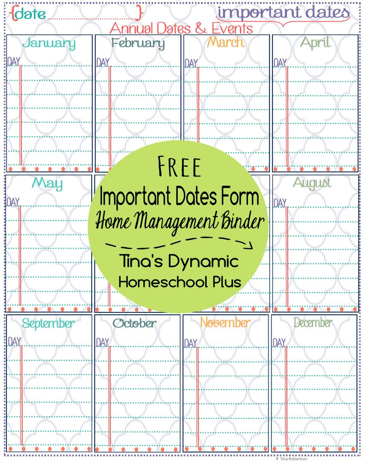 Home Management Binder and Free Important Dates Printable