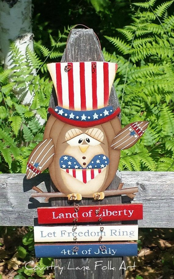 hand painted owl 4th of July Patriotic by countrylanefolkart