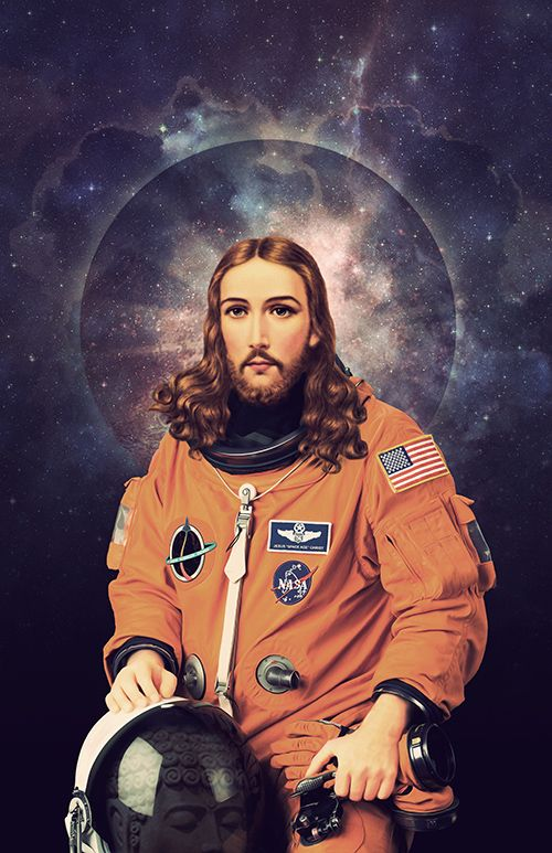 "redfunkovich: "" Every Friday is Good Friday with Space Jesus. https://www.etsy.com/listing/128575724/jesus-christ-astronaut-poster """