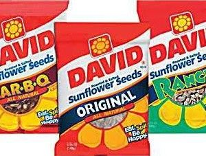 A bulk box of 10 packs of David Sunflower Seeds Roasted Salted Original Jumbo flavour.