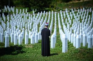A view of Potočari Memorial Centre in Sarajevo, Bosnia and Herzegovina, before a funeral ceremony for 70 people who died in the Srebrenica massacre. They will be buried on the 22nd anniversary of the attack