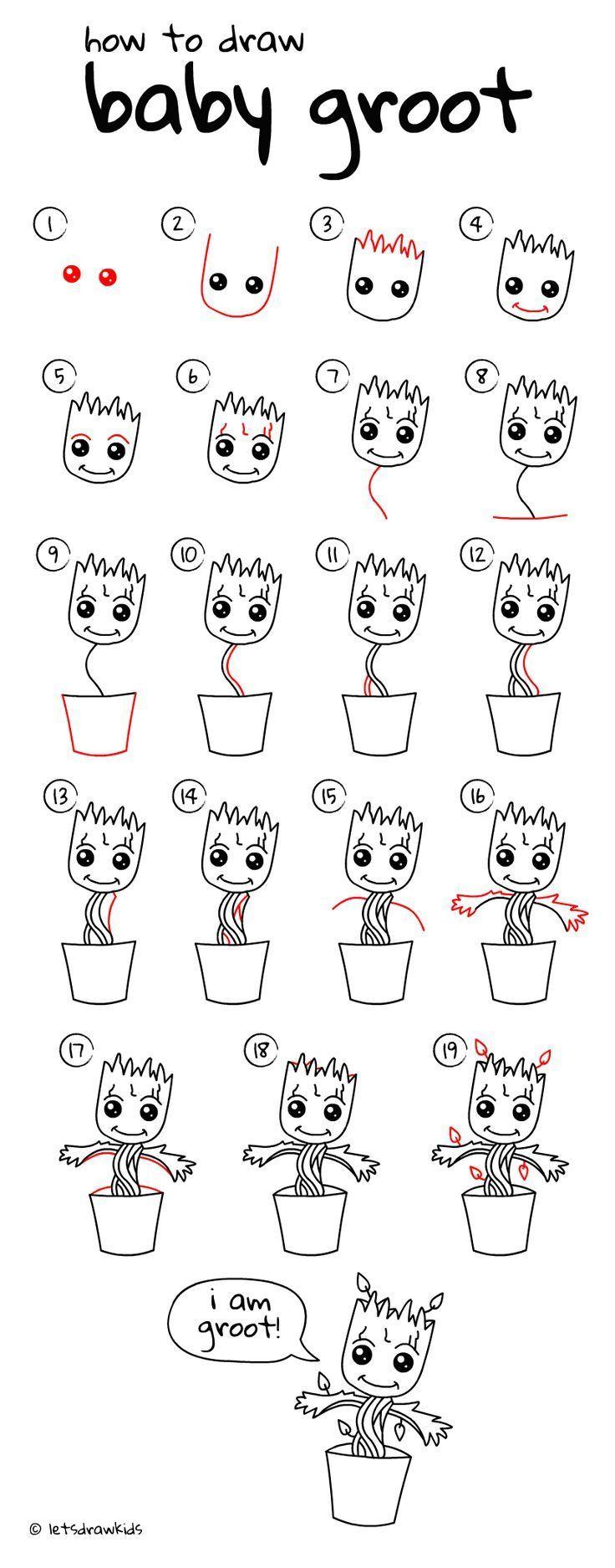 Zeichnungsentwürfe – Wie zeichnet man Baby Groot. Einfaches Zeichnen, Schritt für Schritt, …