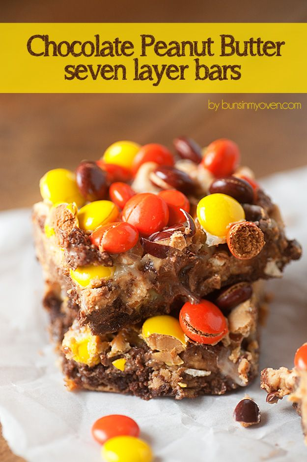 Chocolate Peanut Butter Seven Layer Bars - these are so GOOEY and amazing!