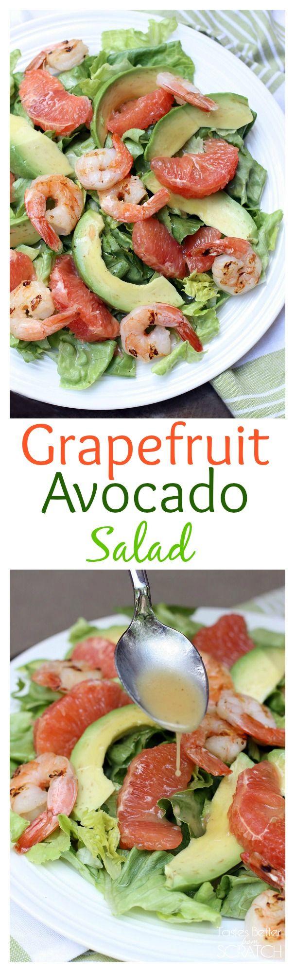 My favorite fresh and healthy salad! Grapefruit Avocado Salad with grilled shrimp on MyRecipeMagic.om