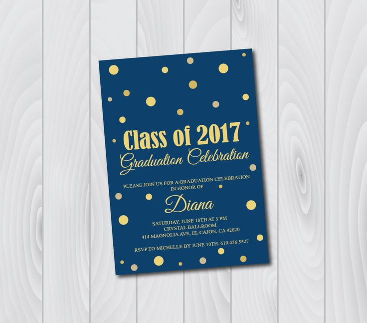 ON SALE Class of 2017 Graduation Invitation Card (graduation announcement)/Navy Blue & Gold/high school graduation/College Graduation invite by BlessedDayPaper on Etsy