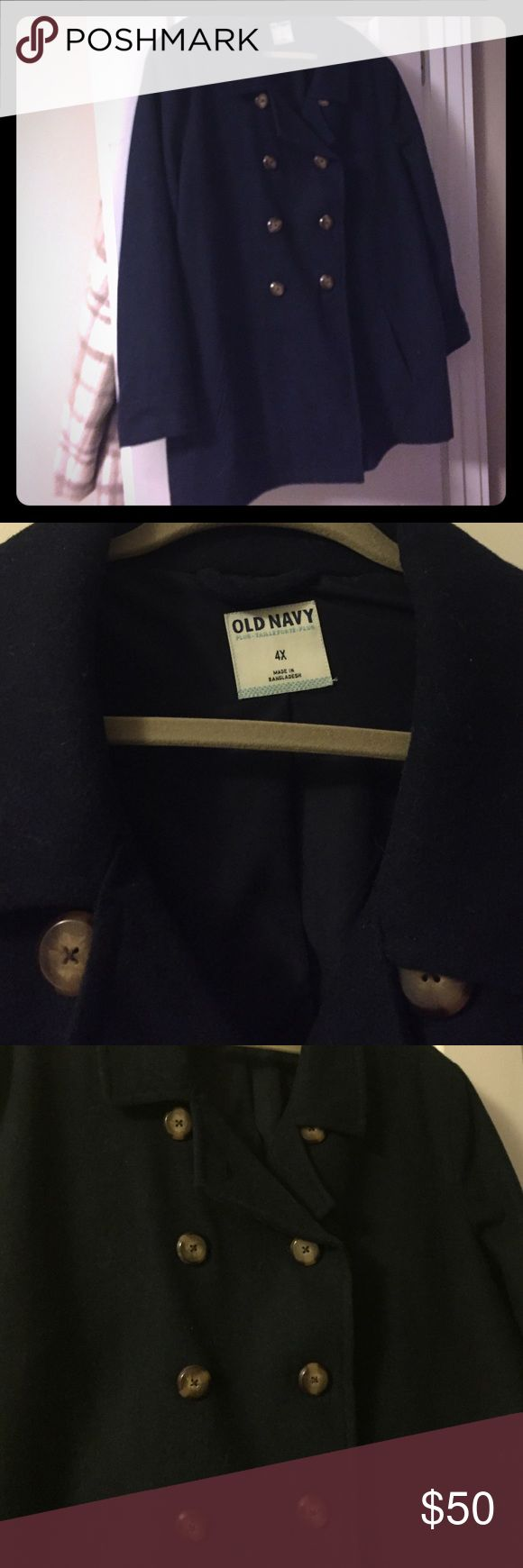 Navy Blue pea coat Old Navy navy blue wool pea coat, size 4X. Brown buttons. Worn maybe a couple of times. Old Navy Jackets & Coats Pea Coats