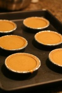 Mini pumpin pies with graham cracker crust