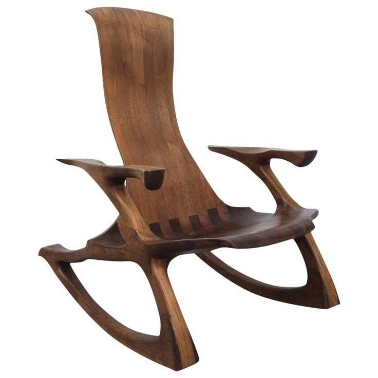 Craftsman Sculpted Walnut Rocking Chair | 1stdibs.com