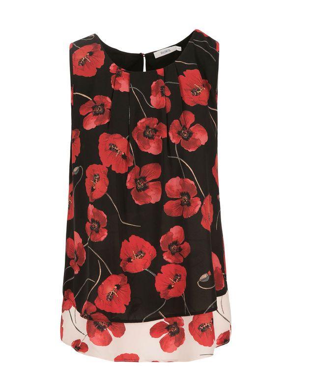 Poppy Print Layered Blouse, Red Print