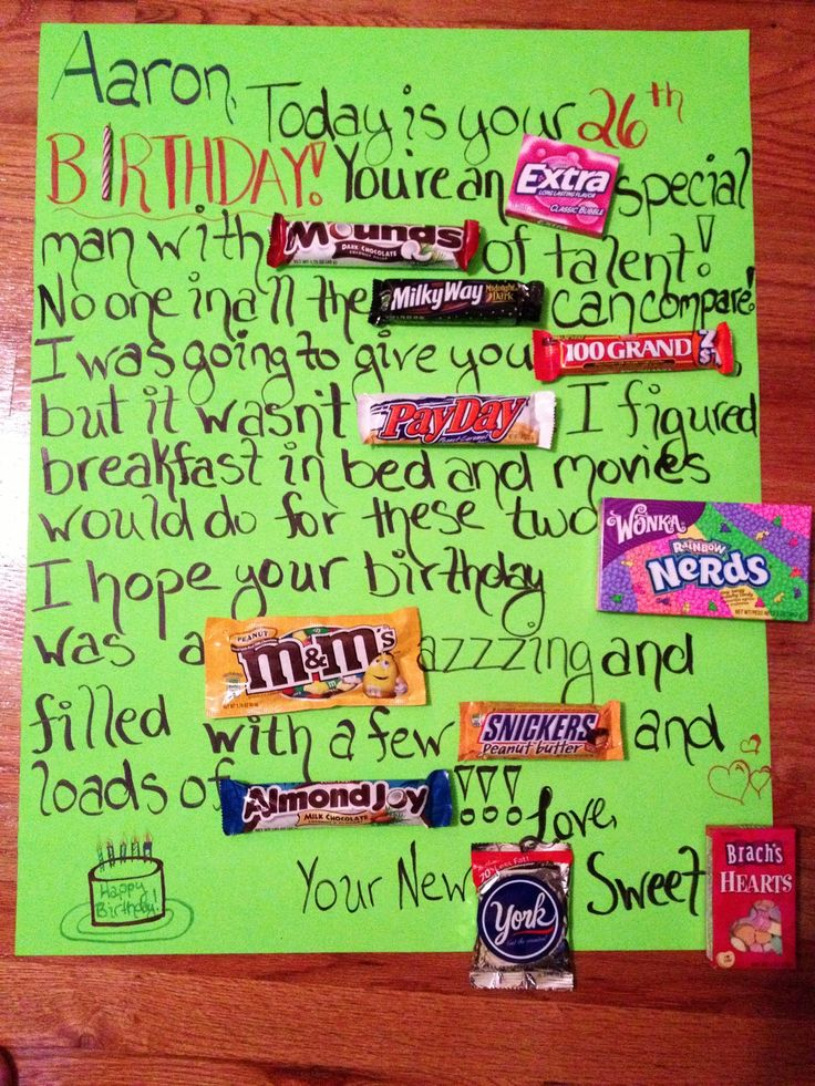 Candy bar birthday card