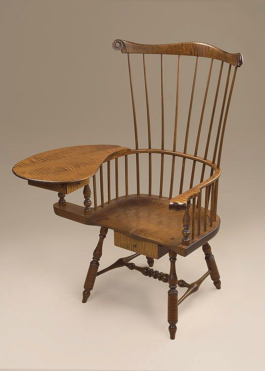 Writing Windsor Armchair - Tiger Maple Wood Chair - Early American Furniture #Windsor