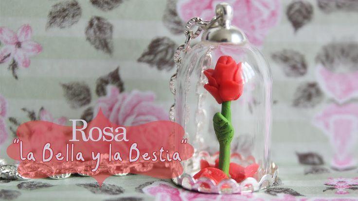 Aprende a realizar este colgante con una rosa de La Bella y La Bestia con arcilla polimérica  #diy #handmade #crafts #colgante #manualidades