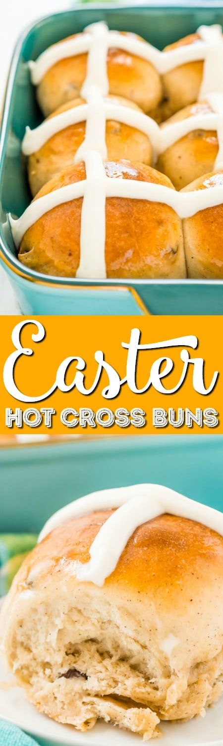 Easter Hot Cross Buns are a spiced sweet bun loaded with currants or raisins and topped with vanilla icing. They're a traditional Good Friday and Easter recipe!