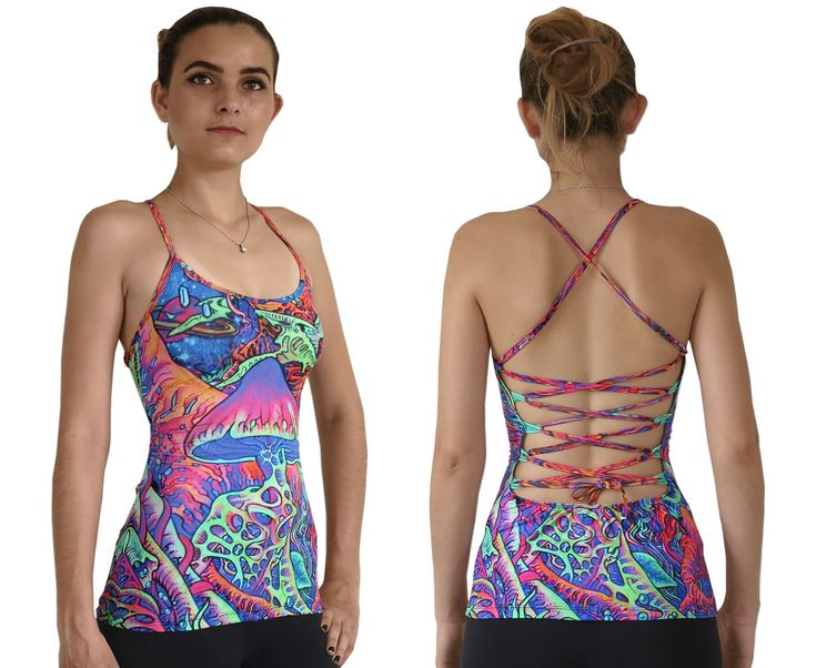 """Sublime Kali Top : Psy Shroom This is a fully printed top that will really grab people's attention.  Open lace-up back for a super adjustable fit.  Slinky stretch polyester lycra fabric (82% polyester, 18% spandex)  Printed using sublimation printing technology.  This allows for extremely vibrant colors that will never fade away no matter how many times it gets washed, & results in an extremely soft """"feel"""" to the top for ultimate comfort.  Artwork by Felix Stöver"""