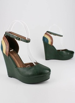 Color Block Mary Jane Ankle Strap Wedges in Olive from GoJane: Colors Blocks