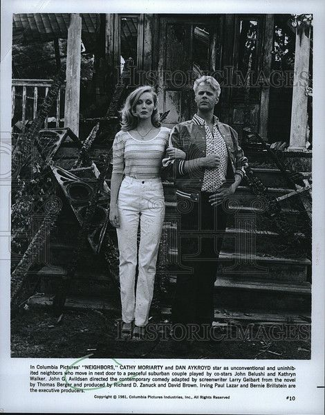 "1981 Press Photo Cathy Moriarty and Dan Aykroyd stars in 'Neighbors"". - Historic Images"