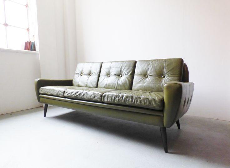 Danish green leather sofa by Skipper Furniture