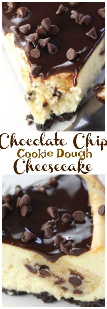 Creamy cheesecake with big hunks of chocolate chip cookie dough mixed throughout, over a chocolate cookie crust. It's out-of-this-world!!