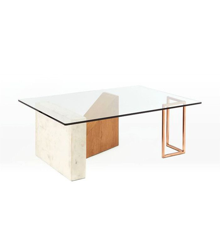 Like Modern Sculpture, The Base Of Our Bowie Coffee Table Is Created From  Three Separate Geometric Forms In A Mix Of Materials: A Marble Slab, Oak  Triangle ...