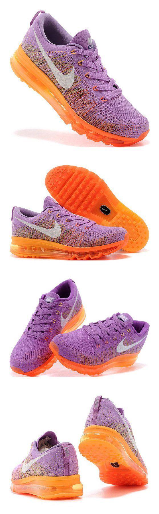 $168 - Women\u0027s Nike Flyknit Air Max Running Shoes Purple-Orange #shoes #nike