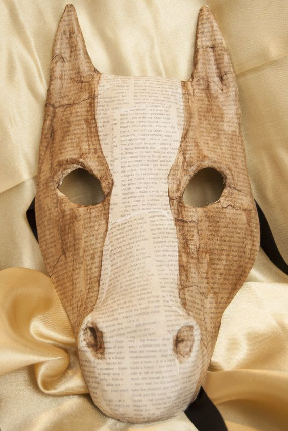 Venetian-Style Decoupage Horse Mask by TwelveNightsMaskShop